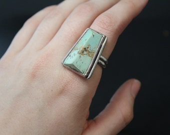 Sterling Silver and Light Green Turquoise Geometric Statement Ring