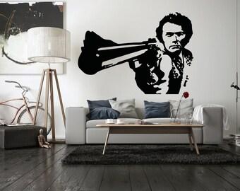 Wall Decal Vinyl Sticker Bedroom gangsta man with gun movie hero weapon bo3287