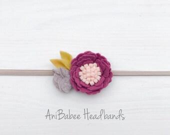 Baby Headband, Felt Flower Headband, Newborn Headband, Infant Headband, Baby Flower Headband, Flower Headband, Valentines Day Headband