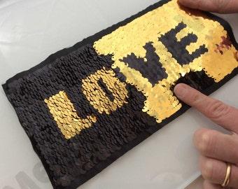 big paillettes patch reversible Black Golden