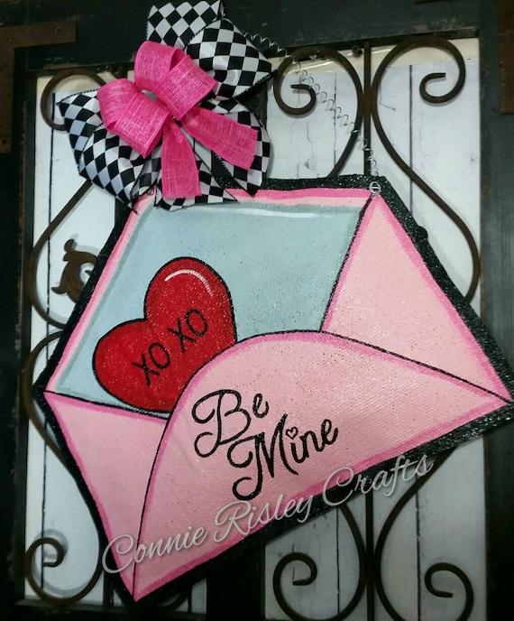 Valentines Day Door Decoration Burlap Door Hanger Party
