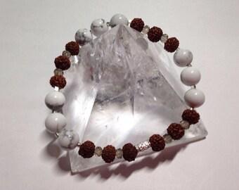 Rudraksh Magic. Fine silver, Rudraksh and Howlite beaded bracelet