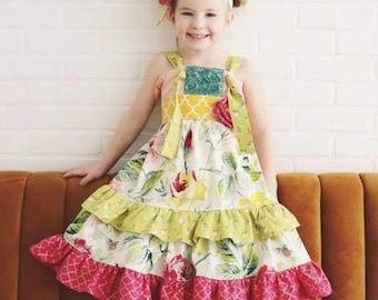 Leona Twirl Dress .. Pink PomPon - toddler girl dress, girls knot dress, handmade boutique dress, fall girls dress, baby girl birthday dress