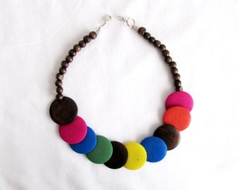 Wood Necklace/Colored Necklace/Round Necklace/
