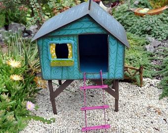 Folksy Tree House for Miniature Garden, Fairy Garden