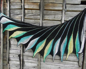 Hand knit shawl wing shape, black scarf,hand knit shawl. Unique Gift, Hand Knitted Wingspan, Women's Accessory,shawl Wingspan Dreambird