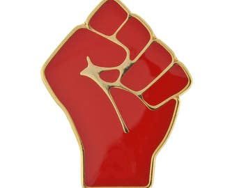 Red Raised Fist of Solidarity Pin