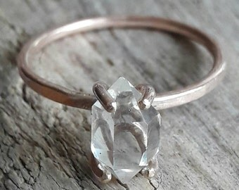 Rose Gold Herkimer Diamond Ring - Rose Gold Engagement Ring - Filled Rose Gold Ring - Rough Stone Ring - Raw Crystal Ring - Anniversary Gift