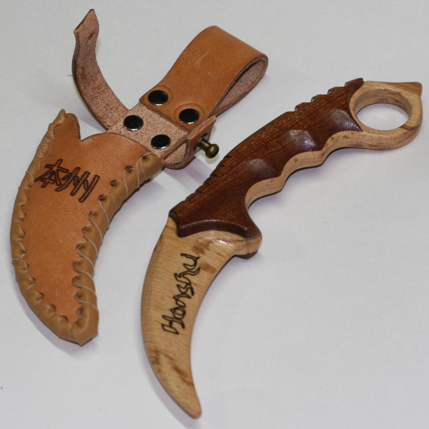 Toys For Knives : Toy wooden knife karambit with leather sheath