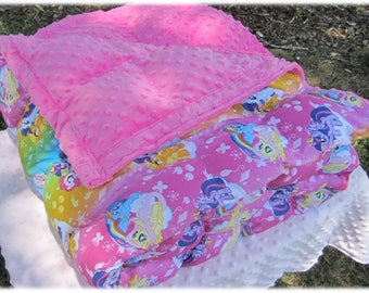 "Weighted Blanket, My Little Pony, Twin weighted blanket (40"" x 82"") Cuddly, Soft and Relaxing -  Custom Made"