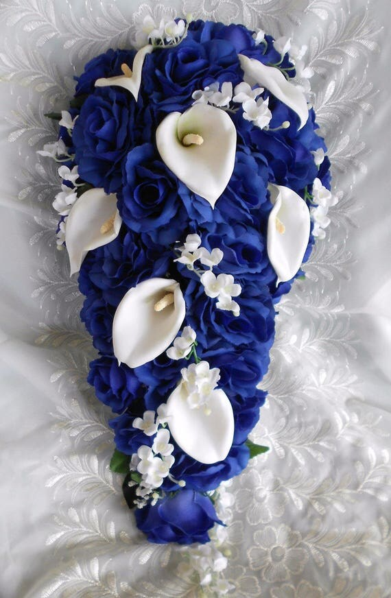 Royal blue  cascade bouquet callas lilies , lilies of the valley and roses 2 pieces free  tose