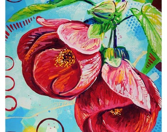 "Abutilon Flower - Original colorful traditional acrylic painting on paper 8.5""x11"""