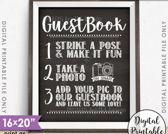 "Guestbook Photo Sign, Wedding Guestbook Sign, Guest Book Photo Wedding Sign, Selfie, Chalkboard Style PRINTABLE 8x10/16x20"" Instant Download"