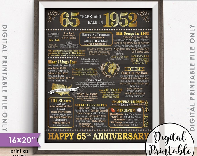 "65th Anniversary Gift 1952 Poster, 65 Years USA Flashback Instant Download 8x10/16x20"" Married in 1952 65th Chalkboard Style Printable"