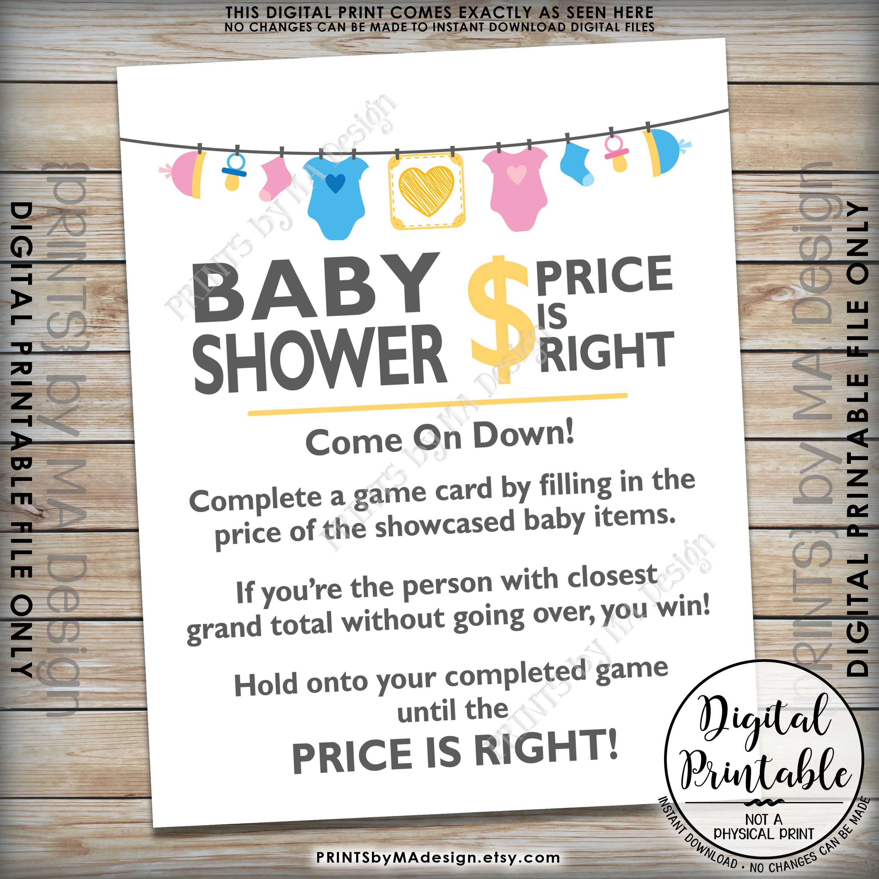 Price Is Right Baby Shower Game Sign, Guess The Prices Activity, Price Game Sign, Gender Neutral