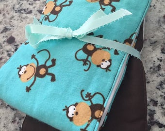 Monkey Cloth Diaper Burp Cloth