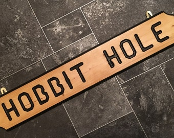 Hobbit Hole - Hand Made Personalized Wall Plaques made from wood - finished in beeswax - lord of the rings