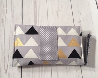 Nappy wallet, diaper clutch in modern metalic gold, grey, black triangles, cotton, portable and padded for style