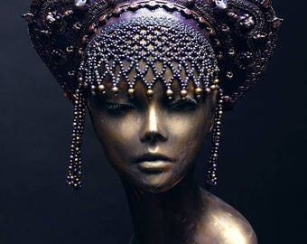 Excusively hand made old Russia style headdress KOKOSHNIK