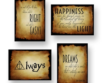 Harry Potter prints, set of 4. Dumbledore quotes, great gift for the Harry Potter fan