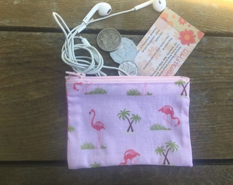 Handmade in Australian Flamingos on Pink Coin purse , makeup bag , mobile holder , opal card holder , bag organisers.