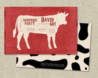 Birthday Invitation Digital Download | Cow Beef Cuts