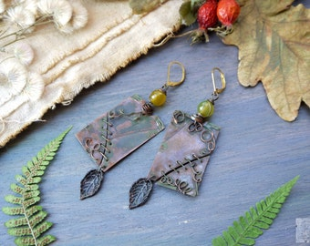Earrings copper metalwork green with leaflets, sewed pieces, natural stone agate, Boho Rustic Earrings, Rusty Earrings, Boho Rustic Earrings