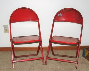 2 Folding Metal Childrens Chairs Great For Plants, Dolls & Oh Yes, Kids
