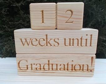 Graduation Countdown blocks, Countdown blocks, Nursery decor, Home decor, Graduation photo props, Personalized blocks, Wood signs, Gift