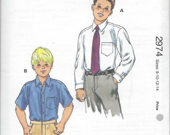 Kwik Sew 2974 Boys' Dress Shirts pattern Sizes 8-10-12-14 OOP