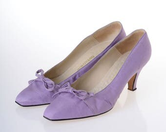 PIROVANO Vintage 1950s lilac satin pumps stiletto heel Italian shoes - size 38
