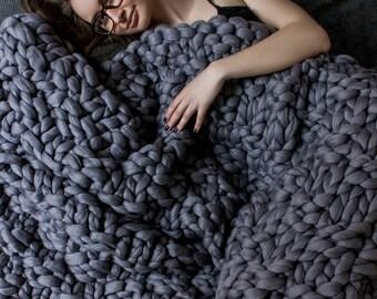 Chunky knit blanket, Australian merino, Merino wool, wool blanket, bulky blanket, chunky blanket, Giant blanket, Wool, knitting.