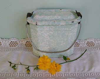 Vintage French Enamel Lunch Pail Enamelware Canister Pale Green & White Splatterware Kitchen Storage Picnic/Camping Rustic French Vintage