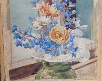 Watercolour Study of Blue Flowers