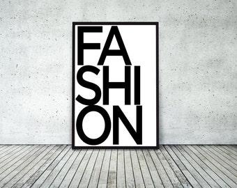 Fashion, typo, typography, Wall Art, Fashion Decor, wall art, large art prints, 24x36 inches, Scandinavian Art, Black and White Typography
