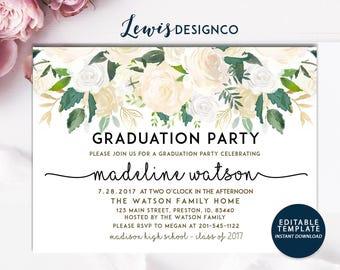 Graduation Party Invitation, High School Graduation Invite, Open House Invitation,Class of 2017, Floral Invitation Card, Editable Template