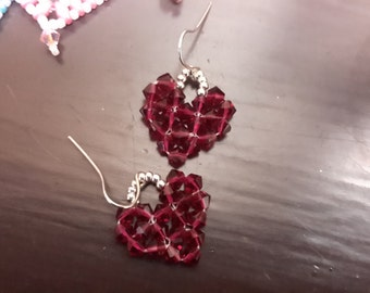 Valentine beaded reddish fuchia, heart earrings, pierced, dangling,  silvery surgical wire, 4 mm Swarovski crystals
