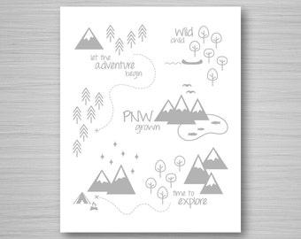 Gray PNW Print - Print at Home Digital Art - Gray Pacific Northwest Print - Nursery Digital Download PNW Art - 8x10 Nursery Art Printable
