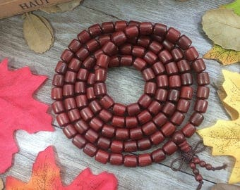 Natural Red Rosewood 108 8mm  Barrel Dalbergia cochinchinensis Pierre Wooden Beads Prayer Beads Bracelet