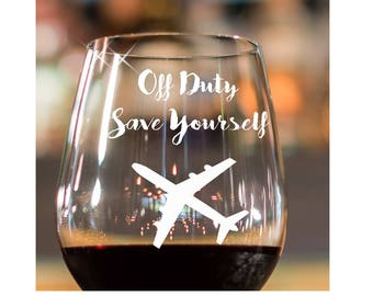 Aviation Gift~ Flight Attendant gift/ ENGRAVED ETCHED Pilot Gift/ Personalized Gift/ Wine Glass/ Stemless Wine Glass/ Funny Wine Glass
