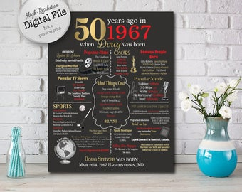 Personalized 50th Golden Anniversary Chalkboard Poster, 1967 Events & Fun Facts, 50th Anniversary Gift, 50 Years Ago, Digital File