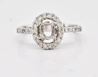 Semi mount engagement ring 14K White Gold & Diamond Ring, 3 grams, 0.30ctw oval shape setting unique statement ring p1