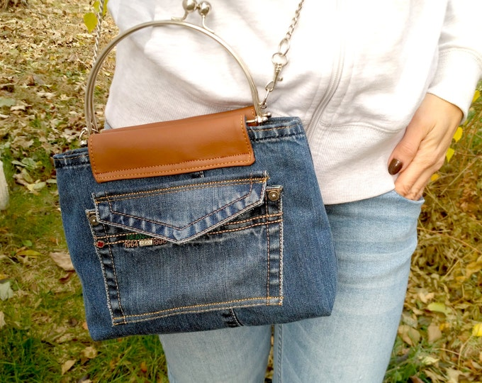 Recycled jeans crossbody Shoulder Denim Bag Blue Jeans Handbag Leather bags women