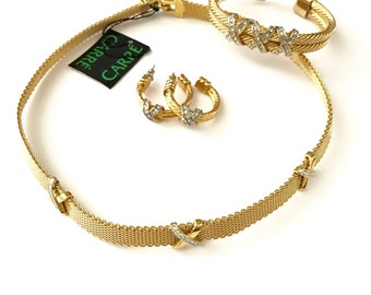Vintage Gold Plated and Rhinestone Necklace Bracelet Earring Matching Jewelry Set