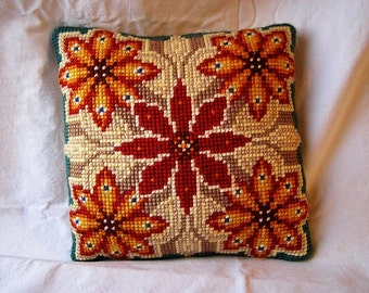70s Pretty Pillow / Hand made + Knotted / 100% cotton