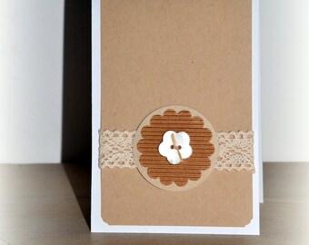 Card handmade kraft, lace button flower / all opportunities