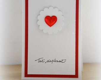 Red heart card: thank you, friendship, love, Valentine's day