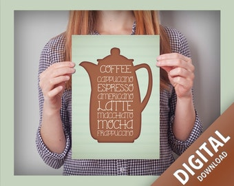 Coffee Poster - Cappicinno, Espresso, Americano, Latte, Macchiato, Mocha, Frappuccino