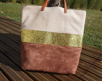 Bag Tote in Brown and beige suede and gold sequins
