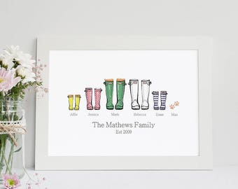 Personalised Family Print Wellies, Welly Boot Family, Welly Print Boot, Family name print, Custom Family Print, Custom Family Decor, Rain